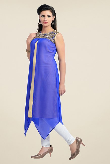 Zola Royal Blue Solid Kurta