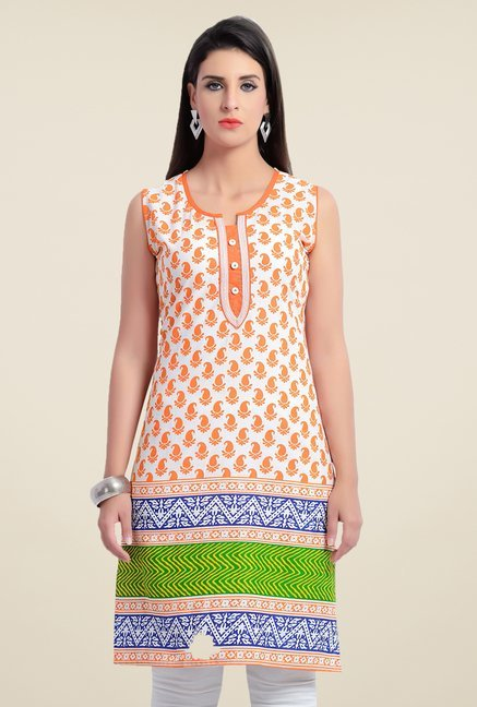 Zola Orange Paisley Print Kurta