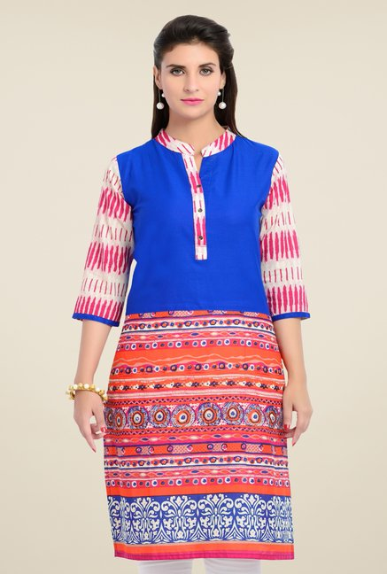 Zola Royal Blue Printed Kurta