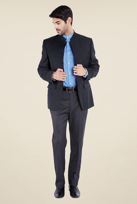 e811a7487 Buy Park Avenue Black Self Print Bandhgala Jacket For Men Online ...