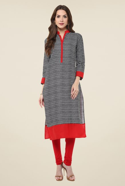 Janasya Black Striped Kurta
