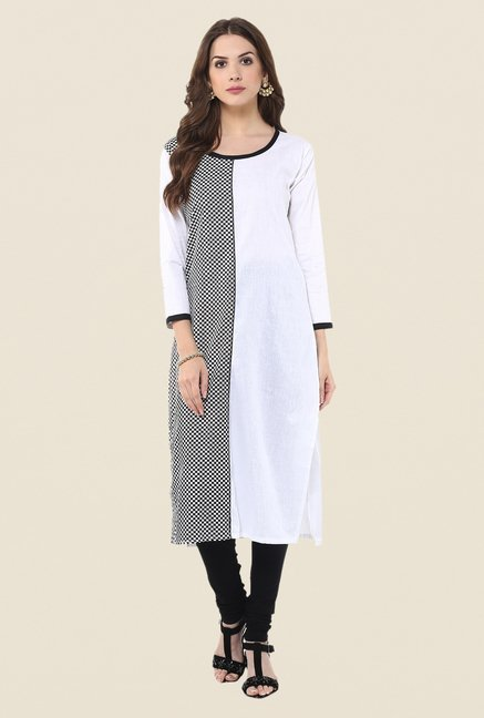 Janasya White & Black Checks Kurta