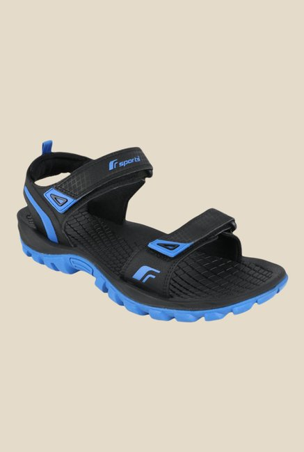 7dc2654311cfc Buy Fsports Ronnie Black   Blue Floater Sandals for Men at Best Price    Tata CLiQ