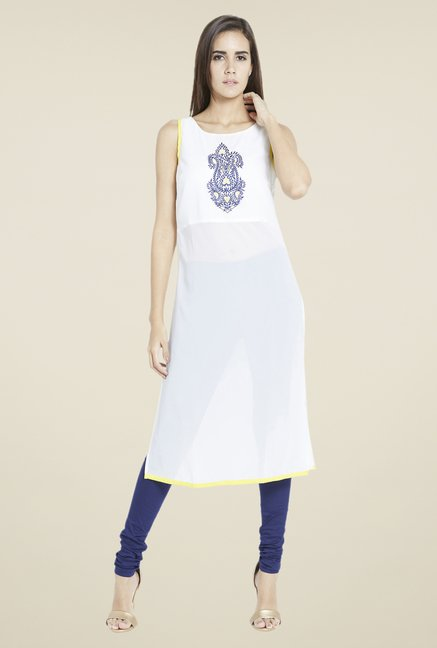Globus White Embroidered Kurta