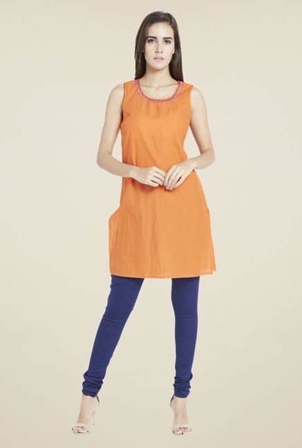 Globus Orange Solid Kurti