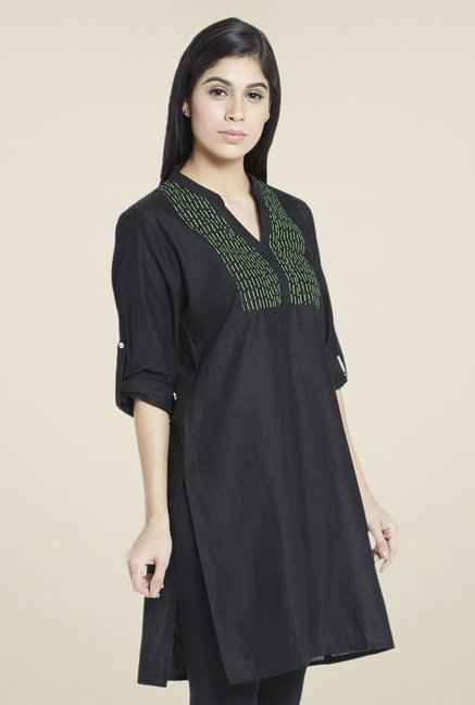 Globus Black Embroidered Kurta