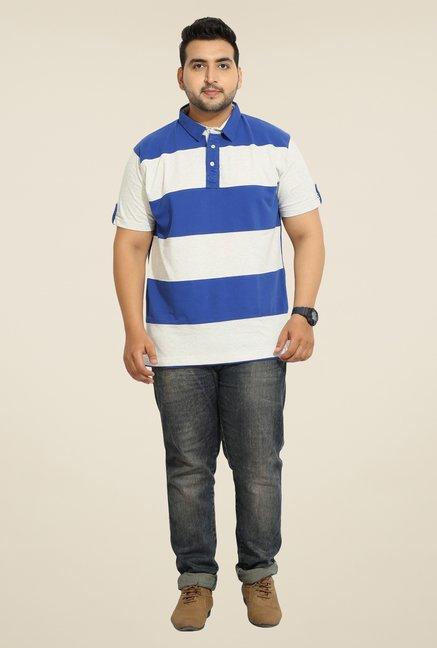 John Pride Blue Striped Polo T Shirt