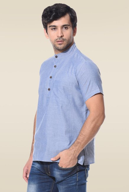 Abhiyuthan Blue Half Sleeves Cotton Kurta