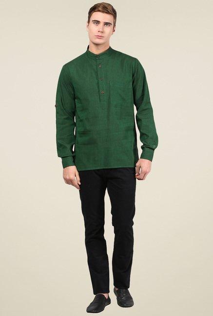 Abhiyuthan Dark Green Solid Cotton Kurta