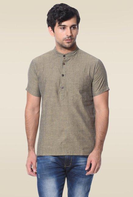 Abhiyuthan Khaki Jacquard Half Sleeves Kurta
