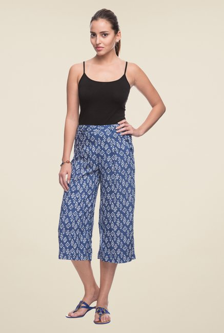 Cottonworld Blue Printed Culottes