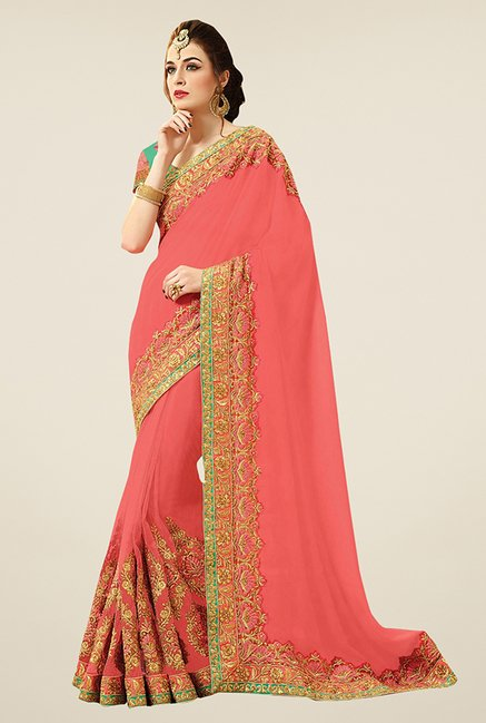 Triveni Peach Embroidered Net Viscose Saree