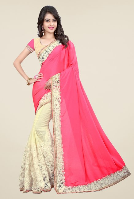 Triveni Cream & Pink Embroidered Art Silk Lycra Saree