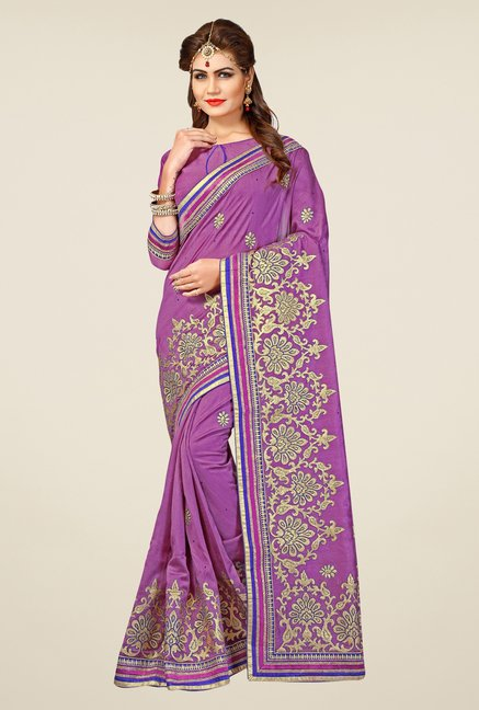 Triveni Purple Embroidered Bhagalpuri Silk Saree