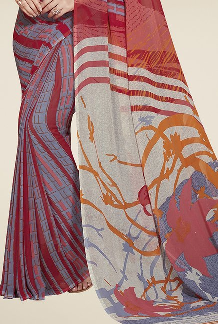 Triveni Blue & Red Printed Faux Georgette Saree