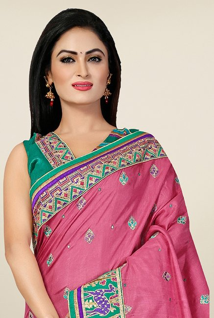 Triveni Pink Embroidered Manipuri Silk Saree