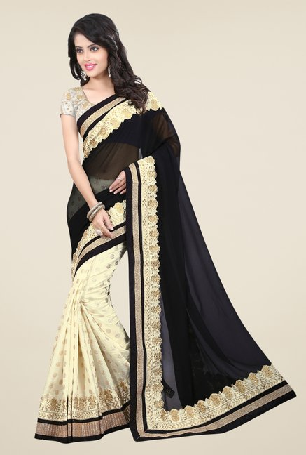 Triveni Cream & Black Embroidered Faux Georgette Saree