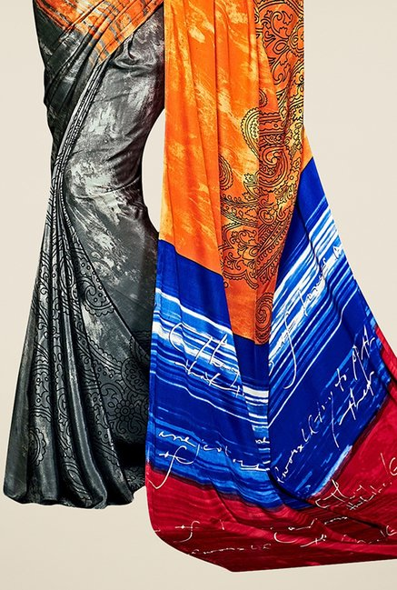 Triveni Grey & Orange Printed Silk Saree