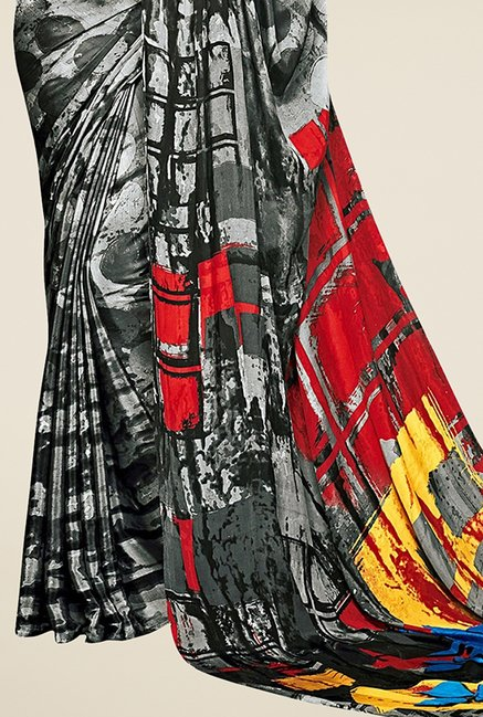 Triveni Grey Printed Silk Saree