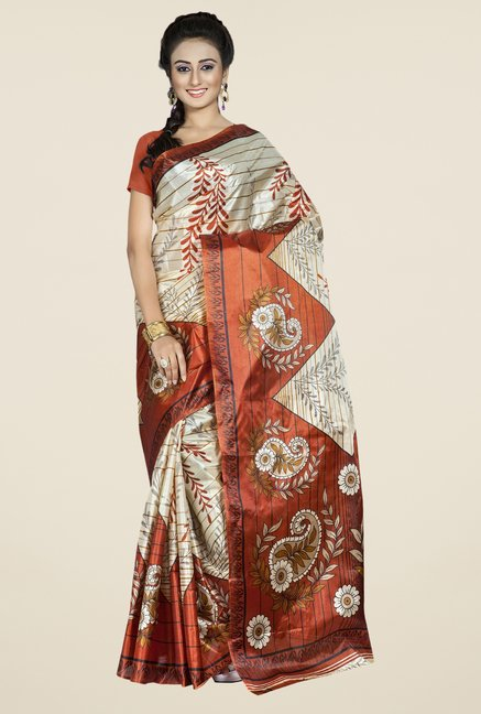Triveni Beige & Brown Printed Art Silk Saree
