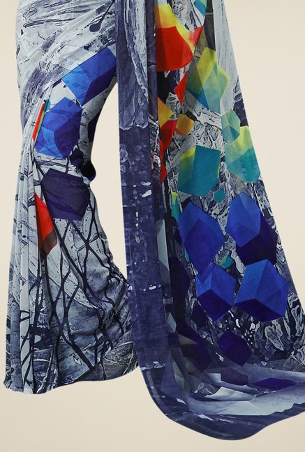 Triveni Grey Printed Faux Georgette Saree