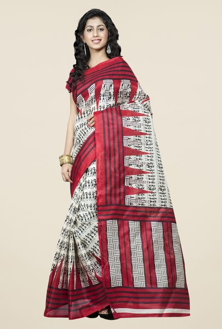 Triveni Off White & Red Printed Bhagalpuri Silk Saree