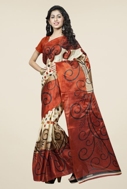 Triveni Beige & Brown Printed Bhagalpuri Silk Saree