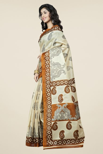 Triveni Cream Printed Bhagalpuri Silk Saree