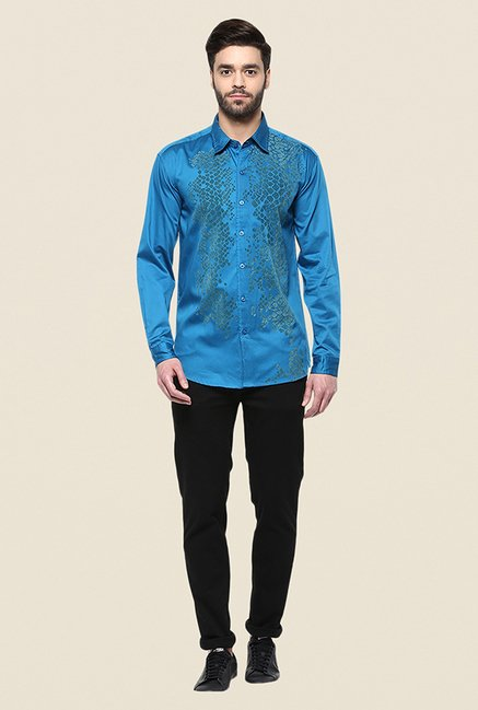 Yepme Enrik Blue Printed Shirt