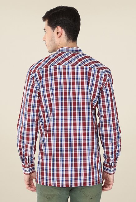 Yepme Stewart Maroon Checks Shirt