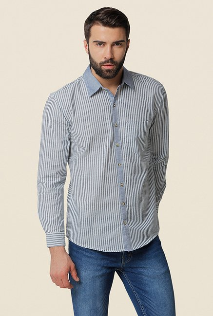 Yepme Corbis Grey Striped Shirt