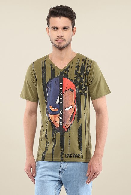 Yepme Civil War American Flag Face Off Olive Printed T Shirt