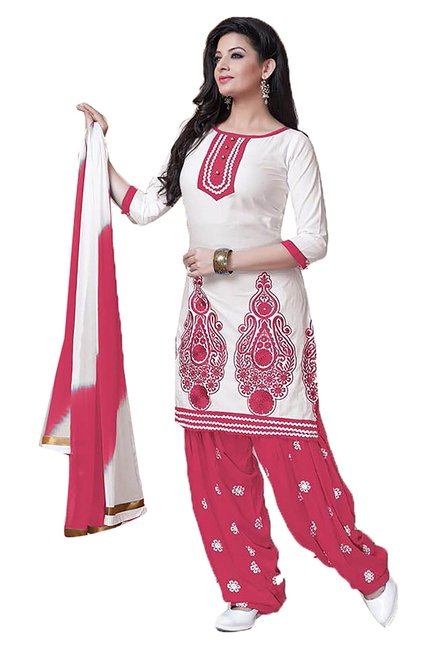 Ishin White & Pink Embroidered Cotton Dress Material