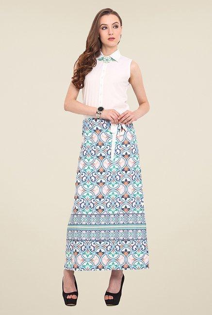 Trend Arrest White Printed Maxi Dress