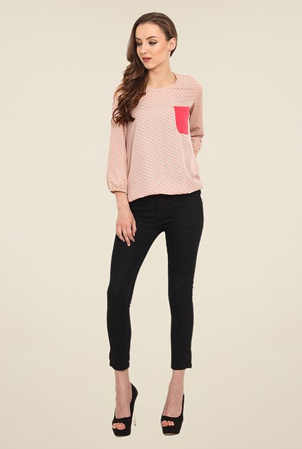 Trend Arrest Peach Polka Dot Top