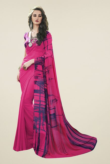 Ishin Pink Striped Faux Georgette Saree