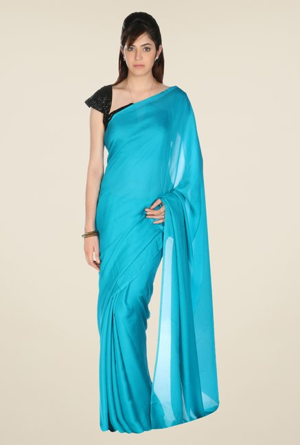 Jashn Blue Solid Satin Saree