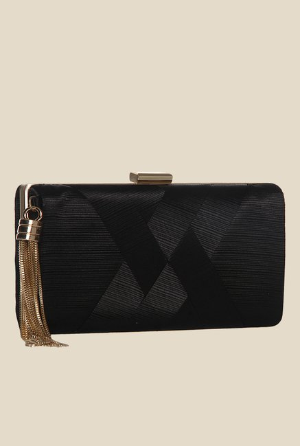 Toniq Black Weave On Box Clutch