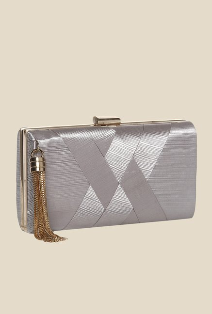 Toniq Silver Weave On Box Clutch