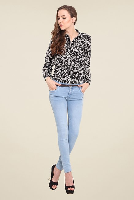 Trend Arrest Black & White Printed Shirt