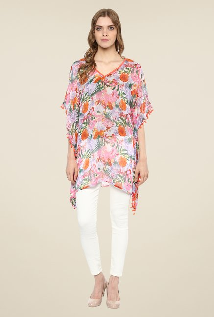 Color Cocktail Multicolor Floral Print Kaftan Top