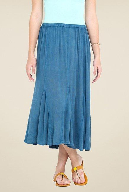 Trend Arrest Blue Solid Skirt