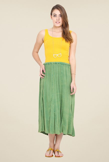 Trend Arrest Green Solid Skirt