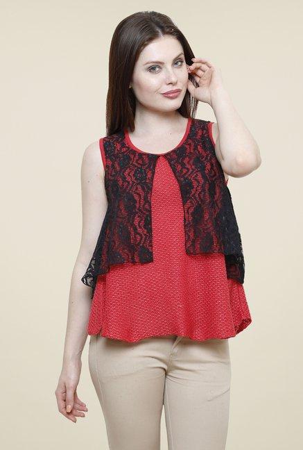 Renka Coral & Black Lace Top