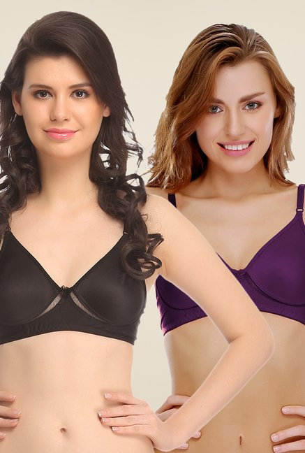 Clovia Black & Purple Non Padded Bra (Pack Of 2)