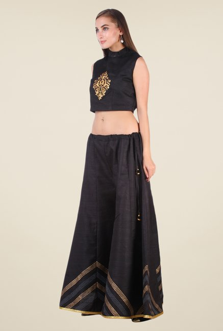 Studio Rasa Black Bhagalpuri Silk Suit Set