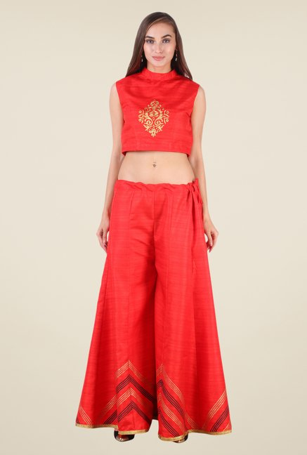 Studio Rasa Red Bhagalpuri Silk Suit Set