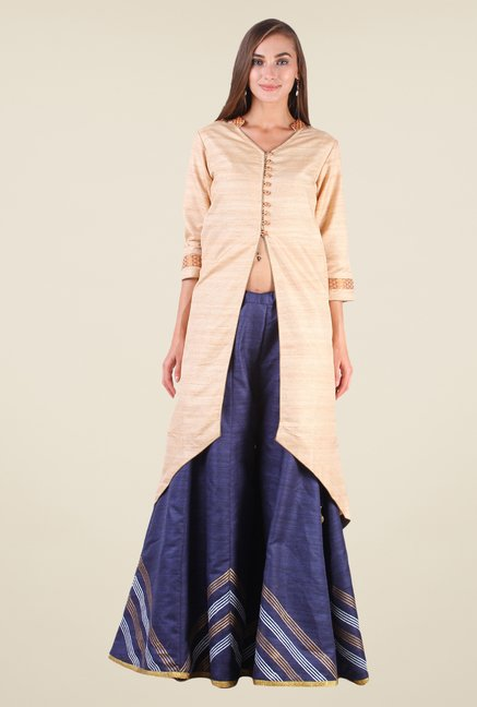 Studio Rasa Beige & Blue Bhagalpuri Silk Suit Set