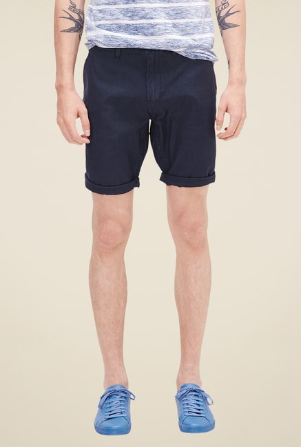 brand new 96e8c 117d4 Buy s.Oliver Navy Solid Shorts for Men Online @ Tata CLiQ