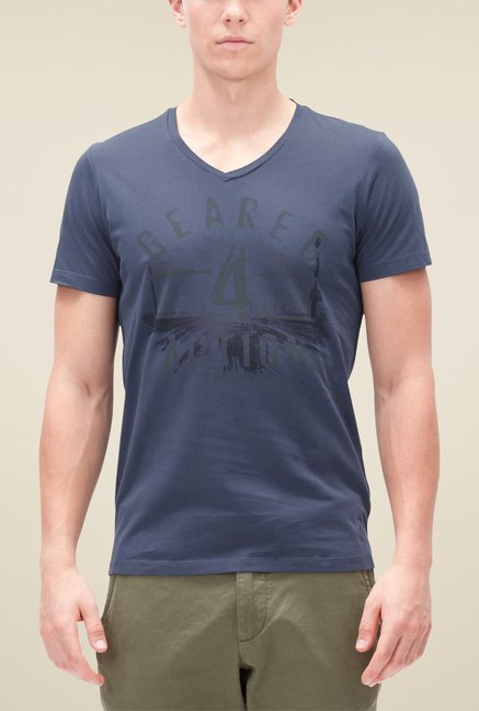 s.Oliver Navy Graphic Print T Shirt